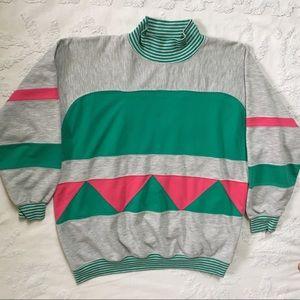 Vintage 80s Geometric Pink & Teal Sweatshirt